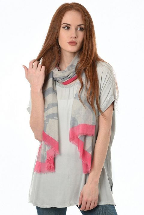 CORAL AND GREY ABSTRACT SCARF